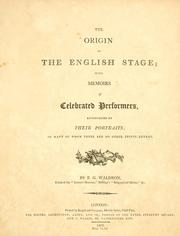Cover of: The origin of the English stage | Waldron, F. G.