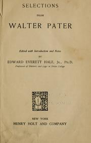 Cover of: Selections from Walter Pater