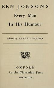 Cover of: Ben Jonson's Every man in his humour: a comedy