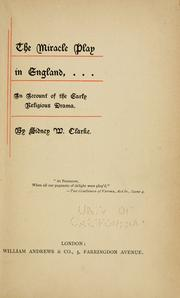 Cover of: The miracle play in England