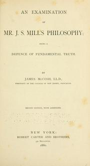 Cover of: An examination of Mr. J. S. Mill