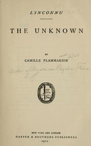 Cover of: L' inconnu: The unknown.