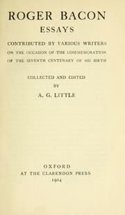 Cover of: Roger Bacon essays | Little, A. G.
