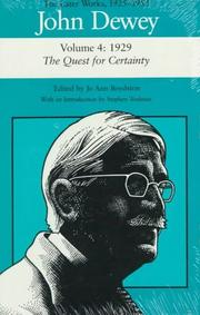 Cover of: John Dewey: The Later Works, 1925-1953