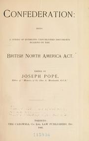 Cover of: Confederation by Pope, Joseph Sir