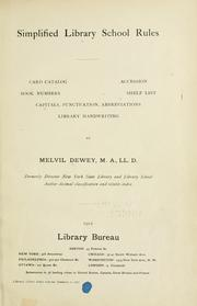 Cover of: Simplified Library school rules | Melvil Dewey