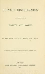 Cover of: Chinese miscellanies