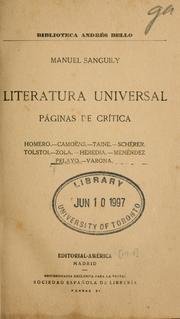 Cover of: Literatura universal by Manuel Sanguily