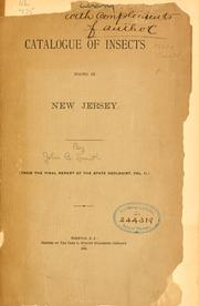 Cover of: Catalogue of insects found in New Jersey