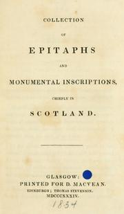 Cover of: Collection of epitaphs and monumental inscriptions |