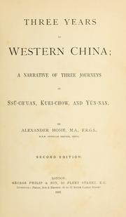 Cover of: Three years in western China