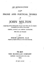 Cover of: An introduction to the prose and poetical works of John Milton