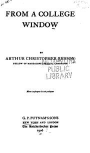 Cover of: From a college window by Arthur Christopher Benson