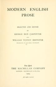 Cover of: Modern English prose | George Rice Carpenter