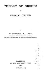 Cover of: Theory of groups of finite order