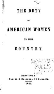 Cover of: The duty of American women to their country
