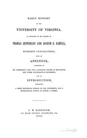 Cover of: Early history of the University of Virginia | Nathaniel Francis Cabell