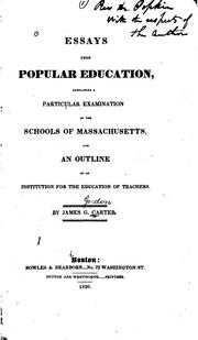 Cover of: Essays upon popular education