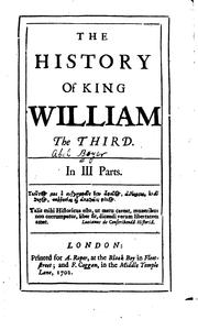 Cover of: The history of King William the Third