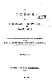 Cover of: The poems of Thomas Howell, (1568-1581.) | Howell, Thomas