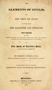 Cover of: The elements of Euclid |