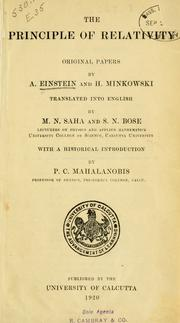 Cover of: The principle of relativity: original papers
