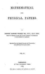 Cover of: Mathematical and physical papers