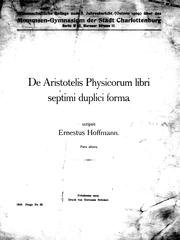 Cover of: De Aristotelis Physicorum libri semptimi duplici forma: pars altera