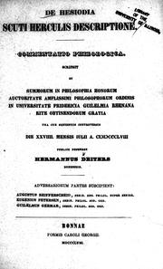Cover of: De Hesiodia scuti Herculis descriptione | Hermann Deiters