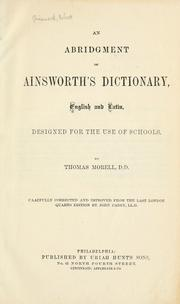 Cover of: An abridgment of Ainsworth's dictionary