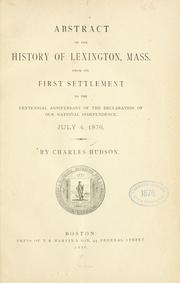 Cover of: Abstract of the history of Lexington, Mass | Hudson, Charles