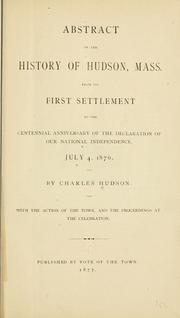 Cover of: Abstract of the history of Hudson | Hudson, Charles