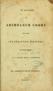 Cover of: An account of Abimelech Coody and other celebrated writers of New York
