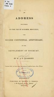 An address delivered on the VIII of October, MDCCCXXX by H. A. S. Dearborn
