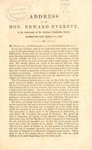 Cover of: Address of the Hon. Edward Everett, secretary of state