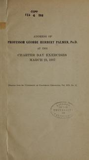 Cover of: Address of Professor George Herbert Palmer
