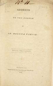 Cover of: Address to the people of St Helena parish