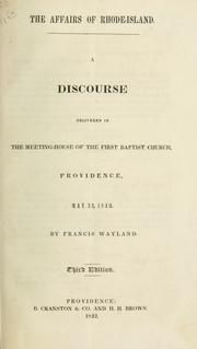 Cover of: The affairs of Rhode-Island