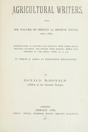 Cover of: Agricultural writers from Sir Walter of Henley to Arthur Young, 1200-1800. | McDonald, Donald