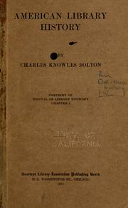 Cover of: American library history