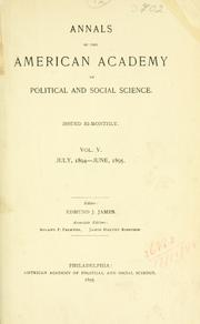 Cover of: Annals. | American Academy of Political and Social Science.
