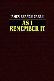 Cover of: As I remember it