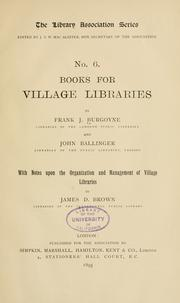 Books for village libraries by Frank James Burgoyne