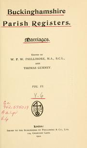 Cover of: Buckinghamshire parish registers. by Phillimore, W. P. W.