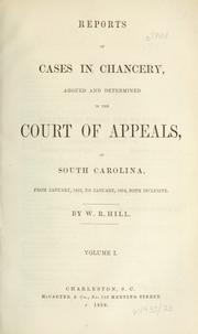 Cover of: Reports of cases in chancery argued and determined in the Court of Appeals of South Carolina