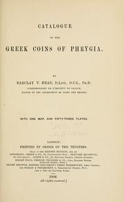 Cover of: Catalogue of the greek coins of Phrygia