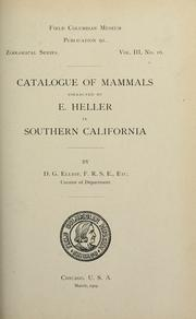 Cover of: Catalogue of mammals collected by E. Heller in Southern California