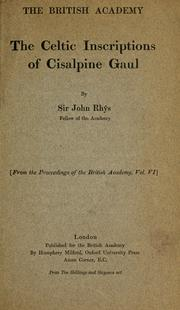 Cover of: The Celtic inscriptions of Cisalpine Gaul