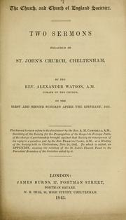 Cover of: The Church, and Church of England societies | Alexander Watson