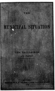 Cover of: The municipal situation |